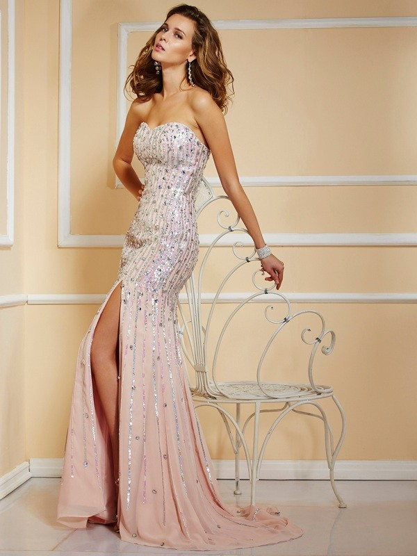 A-Line Beading Strapless Sleeveless Long Chiffon Dresses