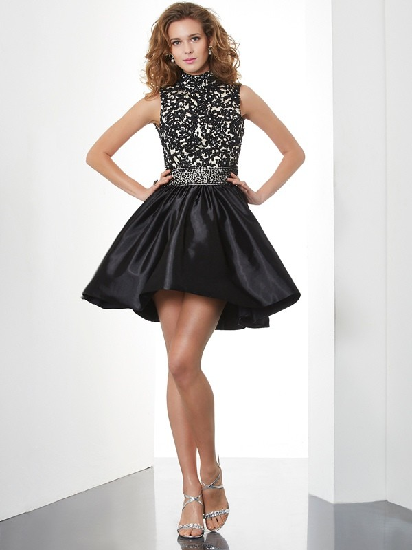 A-Line High Neck Sleeveless Beading Short Taffeta Debs Dress