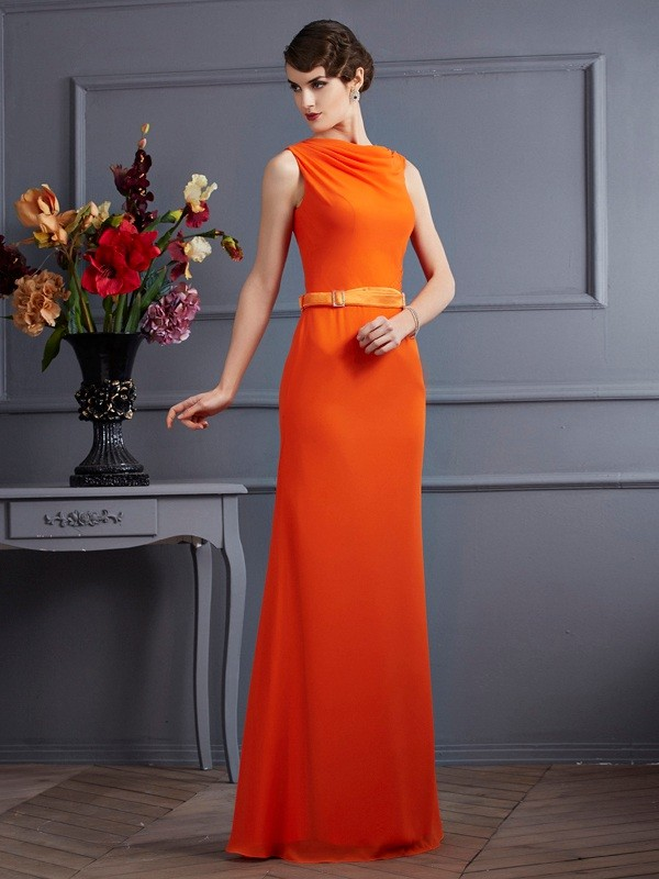 Sheath High Neck Sleeveless Sash/Ribbon/Belt Long Chiffon Dresses