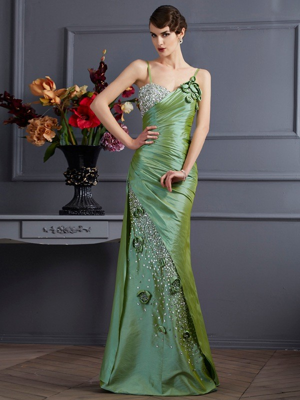 Mermaid Spaghetti Straps Sleeveless Beading Long Taffeta Dresses