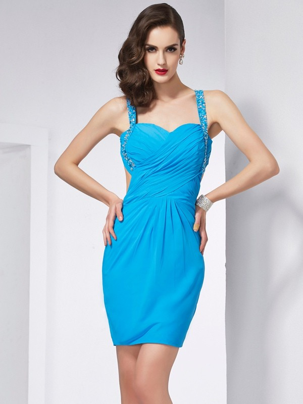 Sheath Spaghetti Straps Sleeveless Beading Short Chiffon Debs Dress