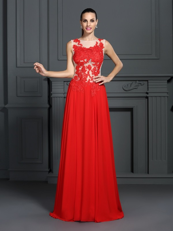 A-Line Bateau Applique Sleeveless Long Chiffon Dresses