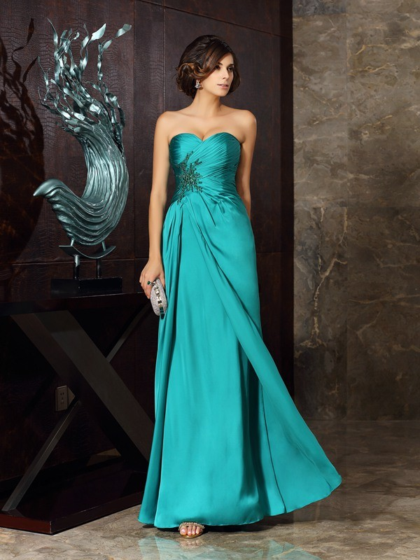 Sheath Sweetheart Beading Sleeveless Applique Long Chiffon Dresses