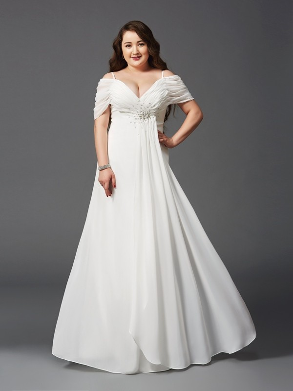 Off-the-Shoulder A-Line Short Sleeves Floor-Length Chiffon Plus Size Dresses With Ruched