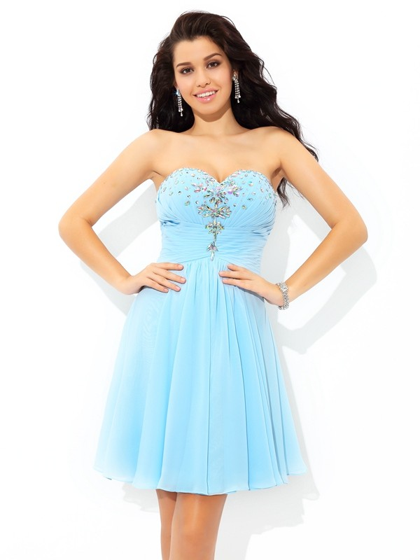 A-Line Sweetheart Beading Sleeveless Short Chiffon Cocktail Dresses