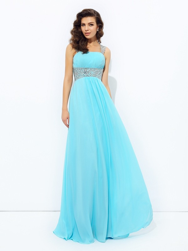 A-Line Straps Sequin Sleeveless Long Chiffon Dresses