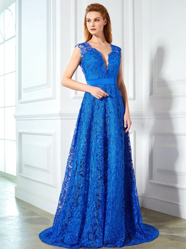 A-Line/Princess V-neck Sleeveless Sweep/Brush Train Bowknot Debs Dress With Lace
