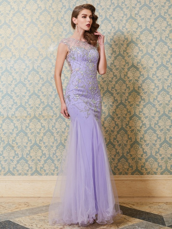 Trumpet/Mermaid Scoop Sleeveless Floor-length Tulle Dress With Beading