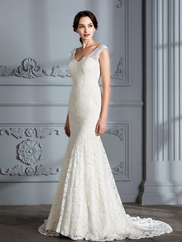 Trumpet/Mermaid Sleeveless V-Neck Lace Sweep/Brush Train Wedding Dresses