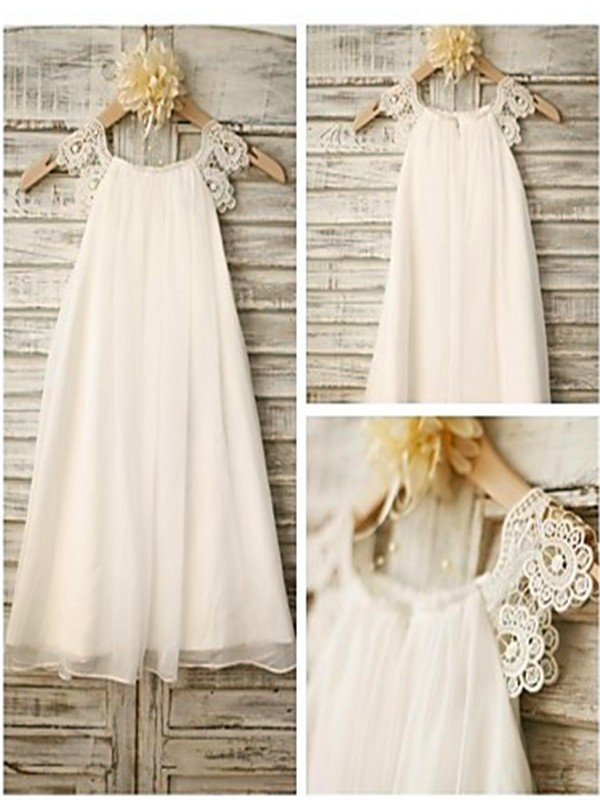 Tea-Length A-Line/Princess Scoop Sleeveless Lace Chiffon Flower Girl Dresses