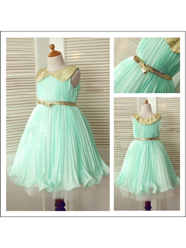 Ball Gown Scoop Floor-Length Chiffon Flower Girl Dress With Sequin