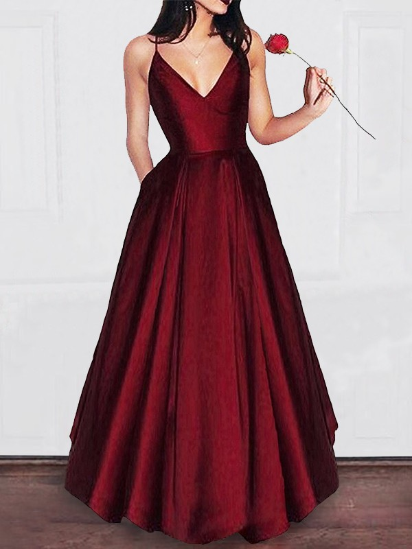 A-Line/Princess V-neck Floor-Length Satin Ruffles Debs Dresses