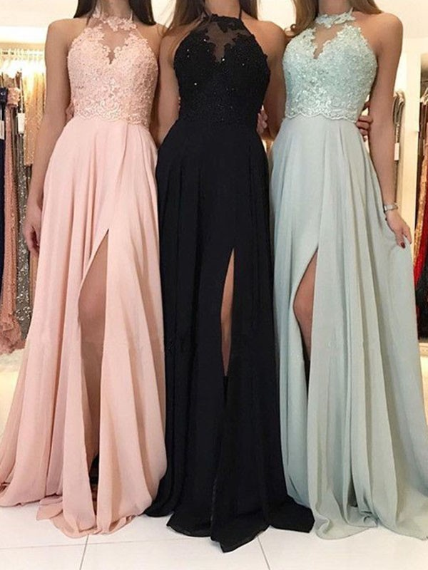 A-Line/Princess Halter Sleeveless Sweep/Brush Train Ruched Chiffon With Applique Dresses