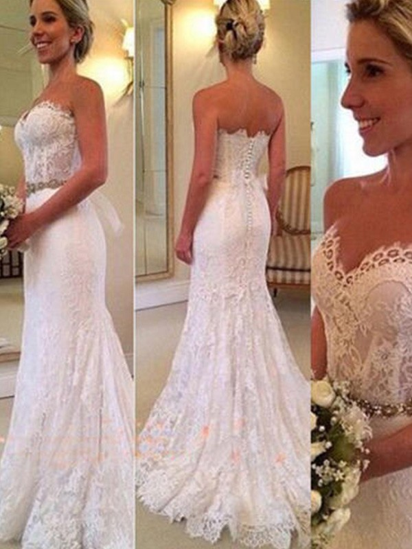 Trumpet/Mermaid Sweetheart Sleeveless Sweep/Brush Train Applique Lace Wedding Dresses