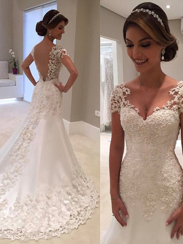 Sweep Train Trumpet/Mermaid Sweetheart Short Sleeves Lace Wedding Dresses