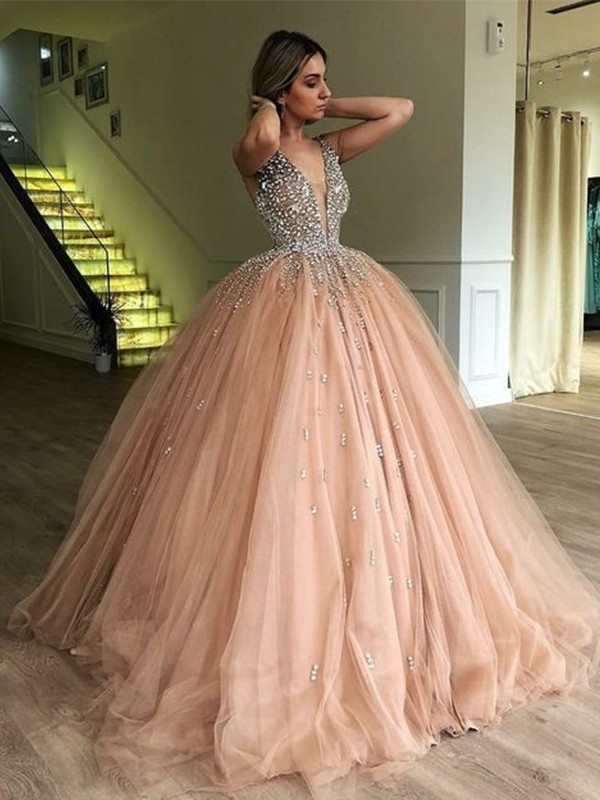 Ball Gown V-neck Sleeveless Beading Tulle Floor-Length Dresses
