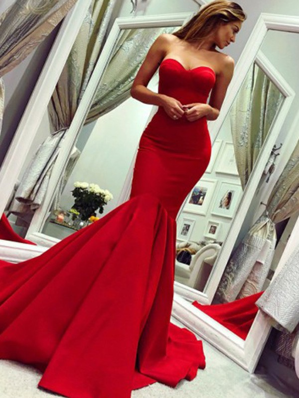 Mermaid/Trumpet Ruffles Strapless Court Train Satin Sleeveless Dresses