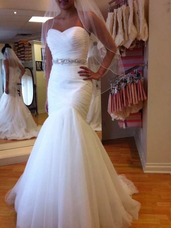 Sweetheart Trumpet/Mermaid Sleeveless Court Train Beading Tulle Wedding Dresses
