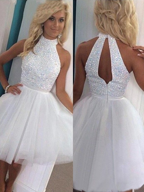 A-Line/Princess Sleeveless Halter Beading Tulle Short/Mini Dresses