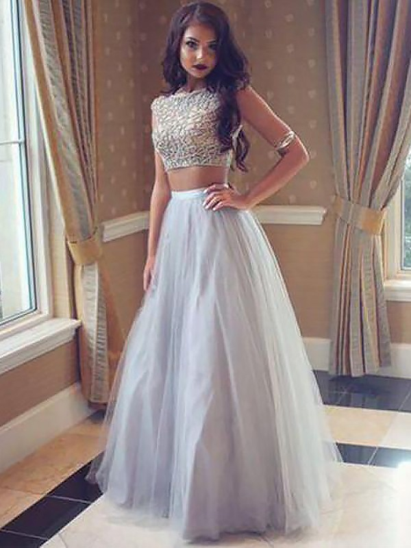 A-Line/Princess Bateau Sleeveless Tulle Floor-Length Beading Two Piece Dresses