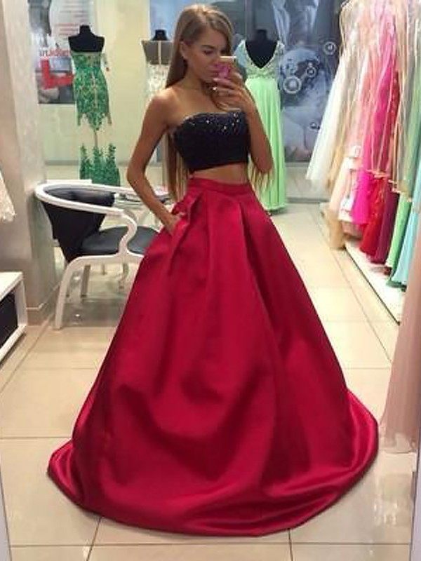 A-Line/Princess Floor-Length Strapless Sleeveless Tulle Beading Two Piece Dresses