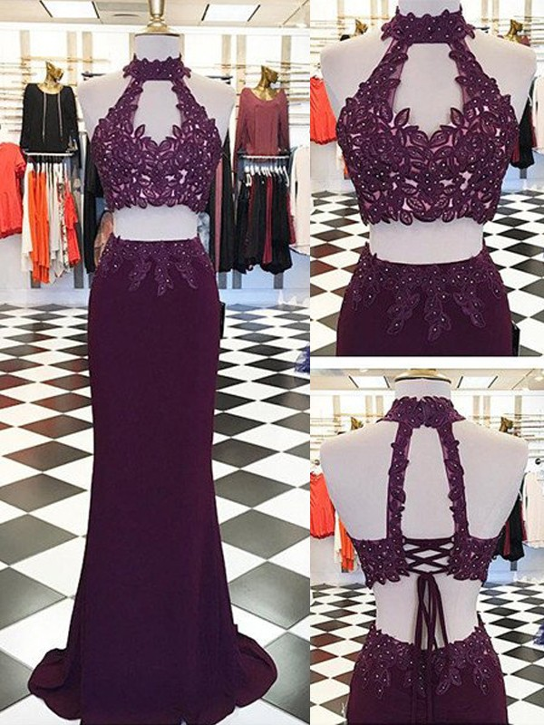 Sheath/Column Halter Applique Floor-Length Sleeveless Spandex Two Piece Dresses