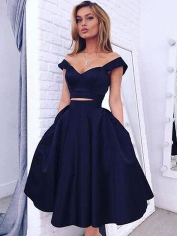 Fabulous A-Line/Princess Off-the-Shoulder Sleeveless Tea-Length Satin Dresses