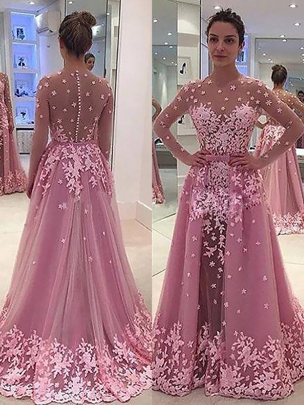A-Line/Princess Scoop Long Sleeves Applique Tulle Floor-Length Dresses