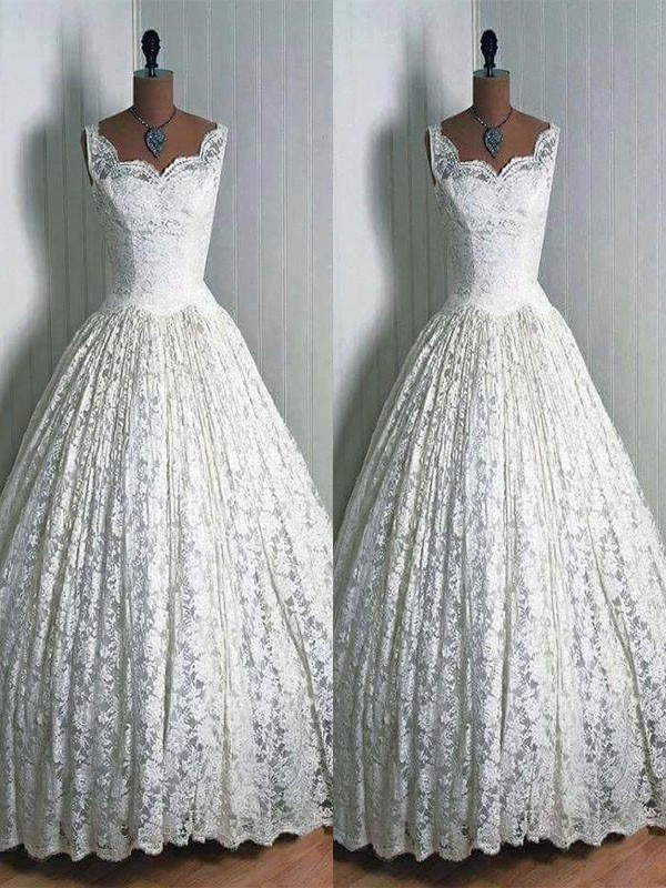 Ball Gown Lace Floor-Length Sweetheart Sleeveless Wedding Dresses