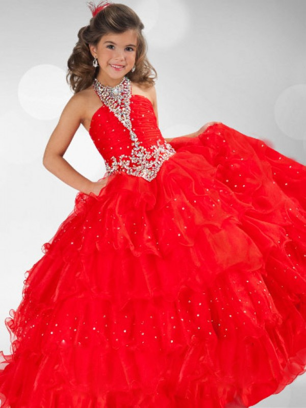 Ball Gown Halter Sequin Rhinestone Sleeveless Long Organza Flower Girl Dresses