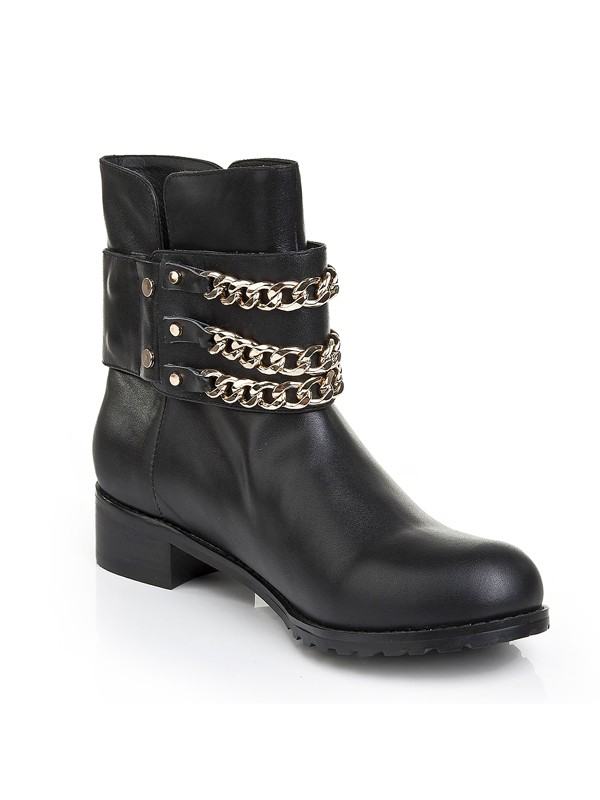 Women's Cattlehide Leather Kitten Heel With Chain Booties/Ankle Boots