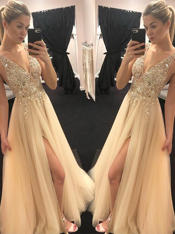 A-Line/Princess Floor-Length Sleeveless Tulle V-neck Dresses