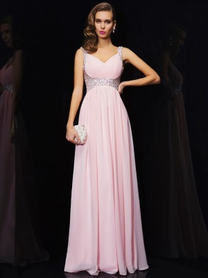 A-Line Sleeveless V-neck Beading Long Chiffon Dresses
