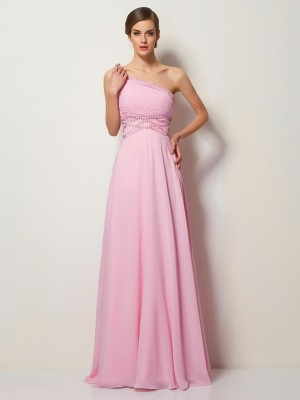 A-Line One-Shoulder Sleeveless Long Beading Chiffon Dresses