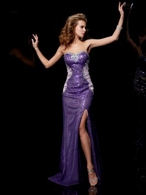Sheath Sweetheart Beading Sleeveless Long Elastic Woven Satin Dresses