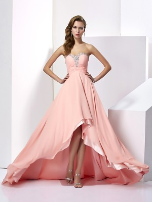 A-Line Sweetheart Sleeveless Long Beading Chiffon Dresses