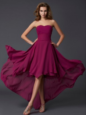 A-Line Sweetheart Sleeveless Pleats High Low Chiffon Dresses