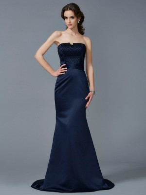 Mermaid Strapless Sleeveless Beading Long Satin Dresses