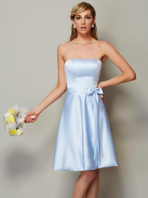 A-Line Strapless Sleeveless Bowknot Short Satin Debs Dress