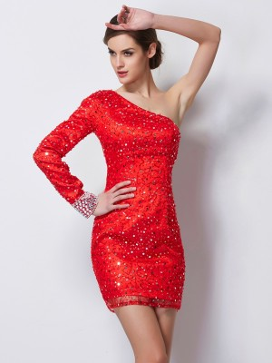 Sheath One-Shoulder Long Sleeves Beading Short Elastic Woven Satin Debs Dress