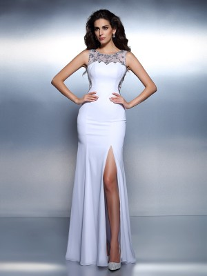 Mermaid Bateau Beading Sleeveless Long Chiffon Dresses