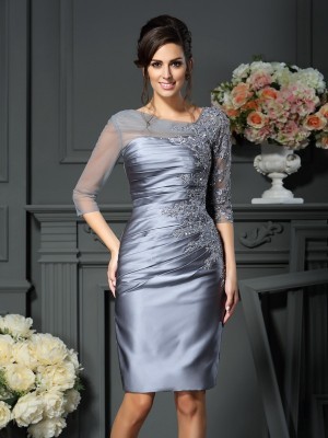 Sheath Scoop Beading 1/2 Sleeves Short Satin Dresses