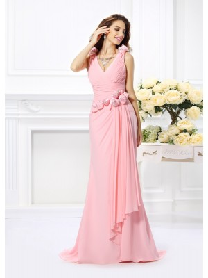 Mermaid V-neck Hand-Made Flower Sleeveless Long Chiffon Debs Dress