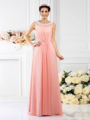 A-Line Bateau Beading Sleeveless Long Chiffon Debs Dress