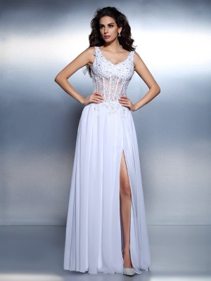 A-Line Scoop Applique Sleeveless Long Chiffon Dresses