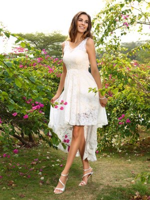 A-Line V-neck Lace Sleeveless High Low Lace Debs Dress