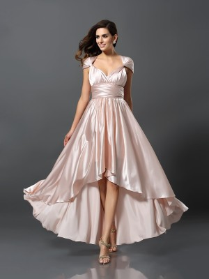 Sheath Sleeveless High Low Silk like Satin Debs Dress