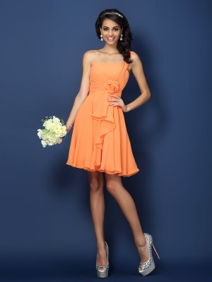 A-Line Strapless Hand-Made Flower Sleeveless Short Chiffon Debs Dress