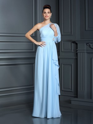 Sheath One-Shoulder 3/4 Sleeves Long Chiffon Debs Dress
