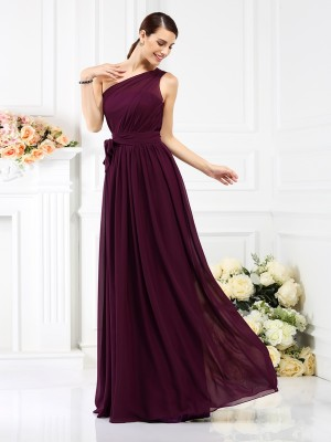 A-Line One-Shoulder Sash/Ribbon/Belt Sleeveless Long Chiffon Debs Dress